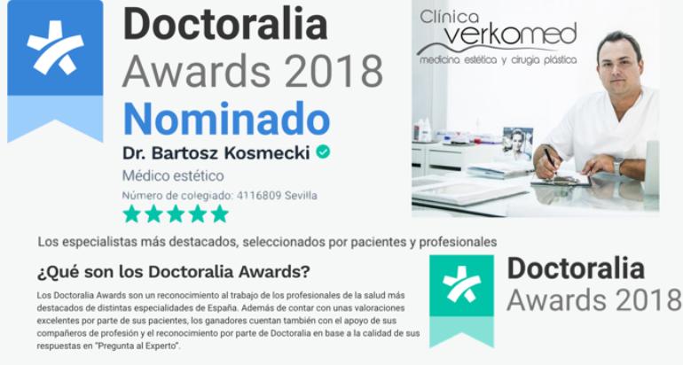 El Dr.Kosmecki entre los 8 medicos estéticos mejor valorados de España! NOMINACIÓN Doctoralia Awards 2018
