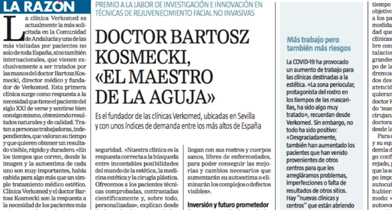 DOCTOR BARTOSZ KOSMECKI,«EL MAESTRODE LA AGUJA» -la respuesta a la necesidad de los pacientes más exigentes… (LA RAZÓN)